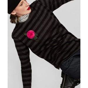 Zara Womens Striped Embroidered Flower  Sweater